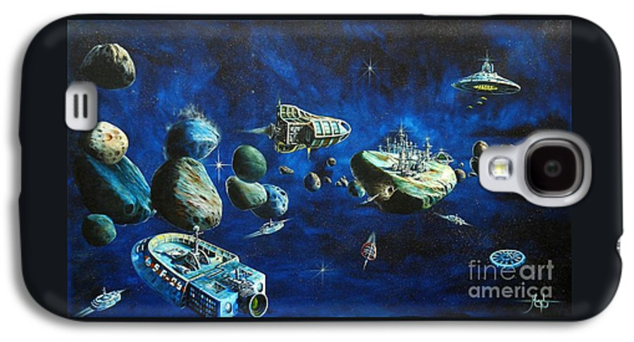 Fantasy Galaxy S4 Case featuring the painting Asteroid City by Murphy Elliott