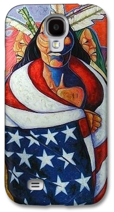 American Indian Galaxy S4 Case featuring the painting At The Crossroads by Joe Triano