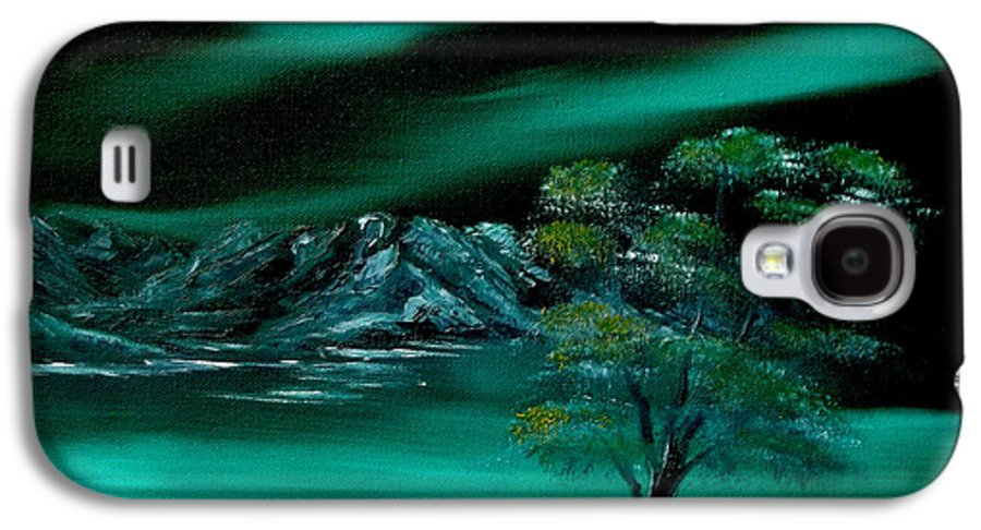 Landscape Galaxy S4 Case featuring the painting Aurora Borealis In Oils. by Cynthia Adams