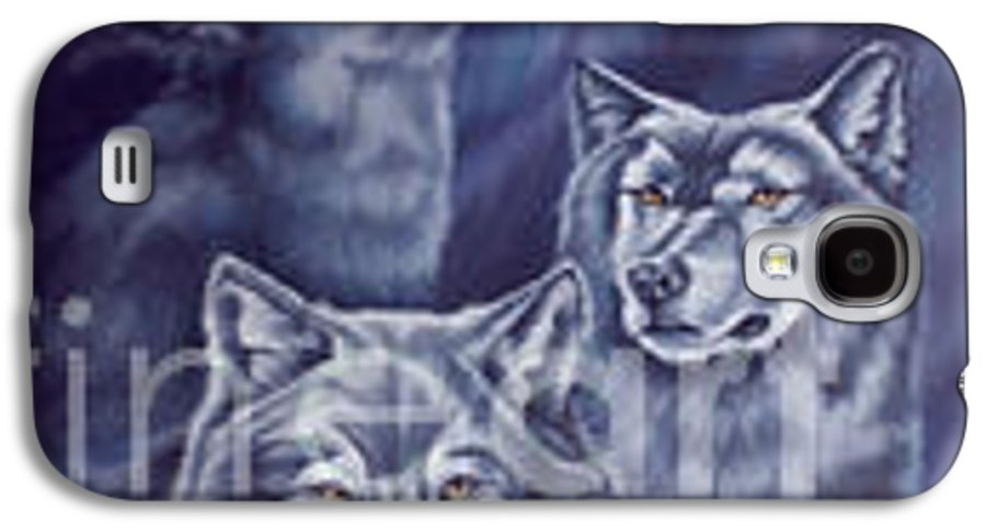 Wolf Galaxy S4 Case featuring the painting Aurora Wolves by Wendy Froshay