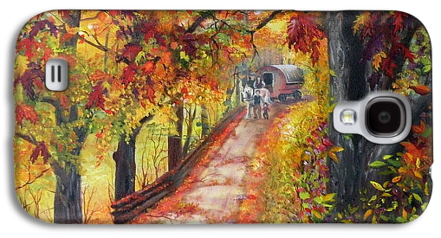 Scenery Galaxy S4 Case featuring the painting Autumn Dreams by Lora Duguay