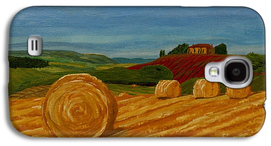 Hay Galaxy S4 Case featuring the painting Field Of Golden Hay by Anthony Dunphy