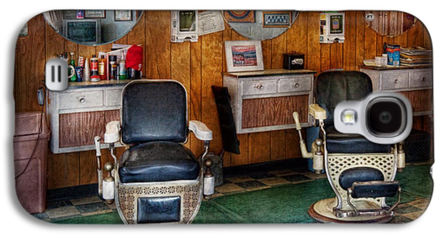 Barber Galaxy S4 Case featuring the photograph Barber - Frenchtown Nj - Two Old Barber Chairs by Mike Savad