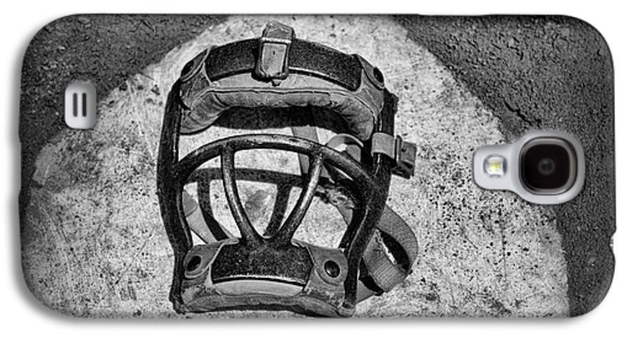 Paul Ward Galaxy S4 Case featuring the photograph Baseball Catchers Mask Vintage In Black And White by Paul Ward