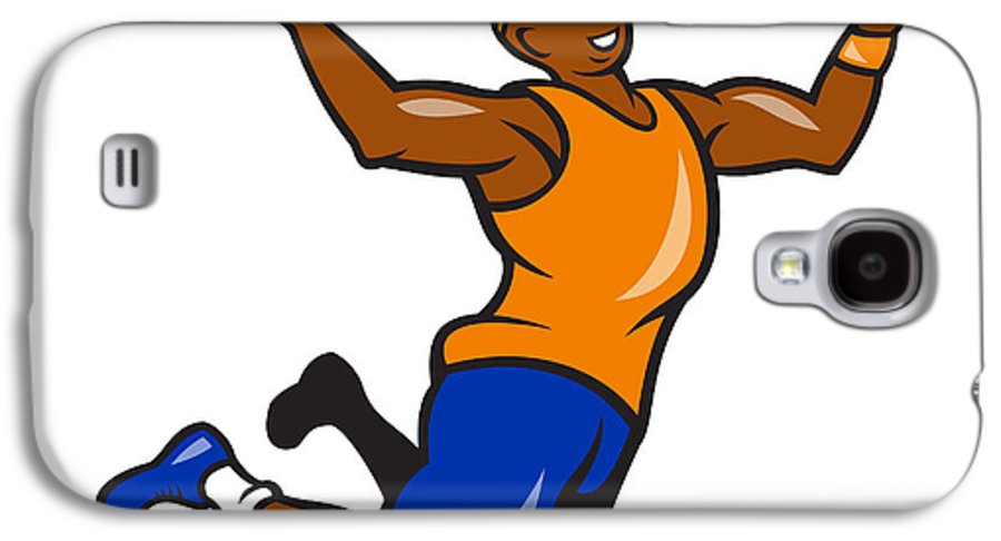 Basketball Galaxy S4 Case featuring the digital art Basketball Player Dunking Ball Cartoon by Aloysius Patrimonio