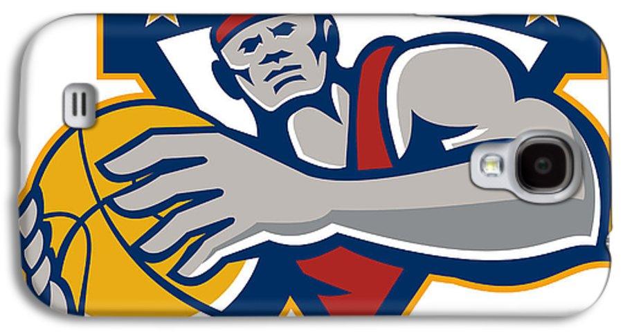 Basketball Galaxy S4 Case featuring the digital art Basketball Player Holding Ball Star Retro by Aloysius Patrimonio