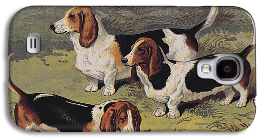 Dogs Galaxy S4 Case featuring the painting Basset Hounds by English School
