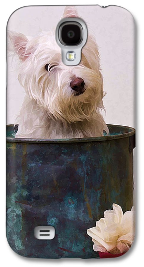 Dog Galaxy S4 Case featuring the photograph Bath Time Westie by Edward Fielding