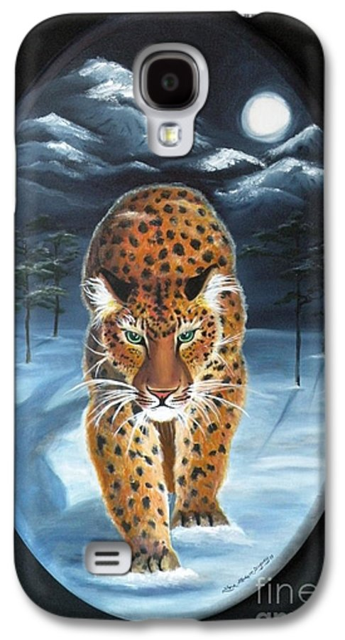Snow Leopard Galaxy S4 Case featuring the painting Batukhan Snow Leopard by Lora Duguay
