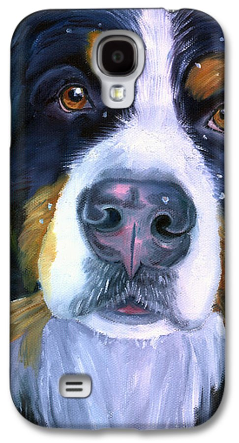 Bernese Mountain Dog Galaxy S4 Case featuring the painting Bernese Mountain Dog In Snowfall by Lyn Cook