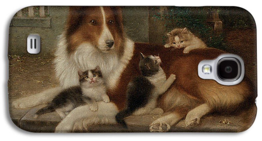 Best Of Friends Galaxy S4 Case featuring the painting Best Of Friends by Wilhelm Schwar