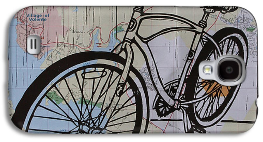Bike Galaxy S4 Case featuring the drawing Bike 6 On Map by William Cauthern