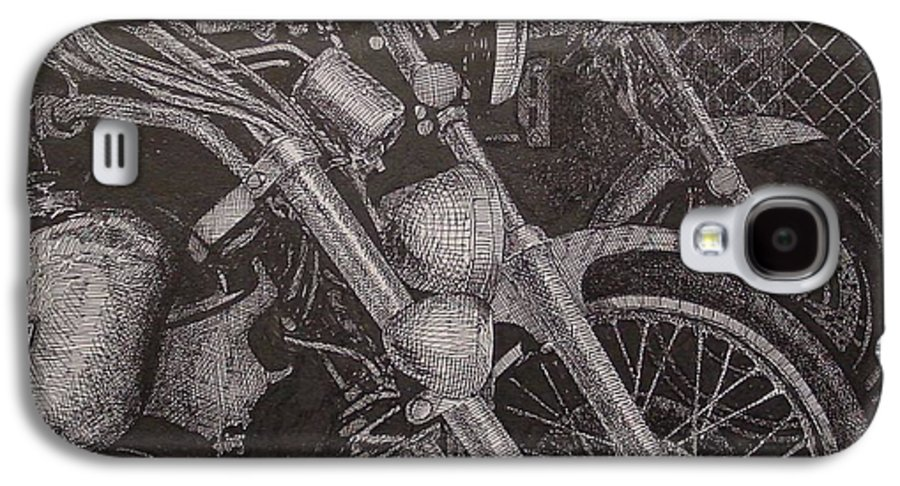 Motorcycles Galaxy S4 Case featuring the drawing Bikes by Denis Gloudeman