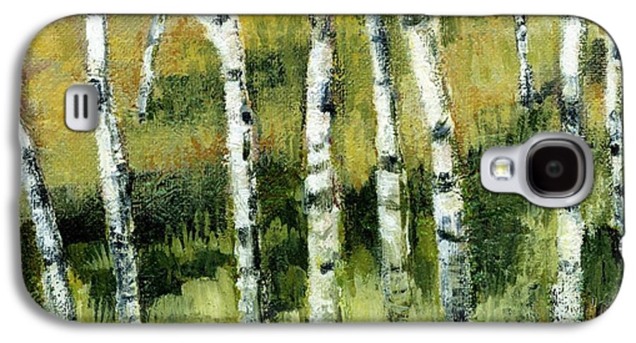 Trees Galaxy S4 Case featuring the painting Birches On A Hill by Michelle Calkins