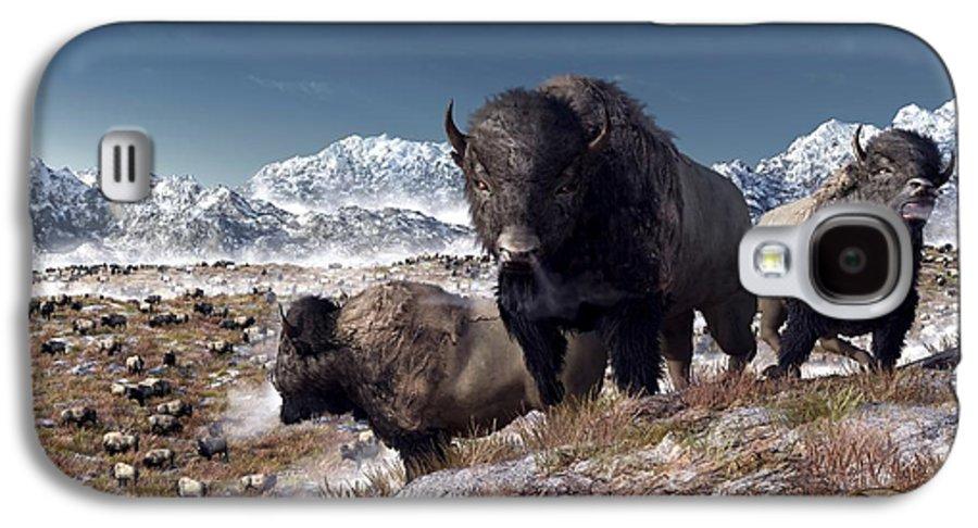 Bison Galaxy S4 Case featuring the digital art Bison Herd In Winter by Daniel Eskridge