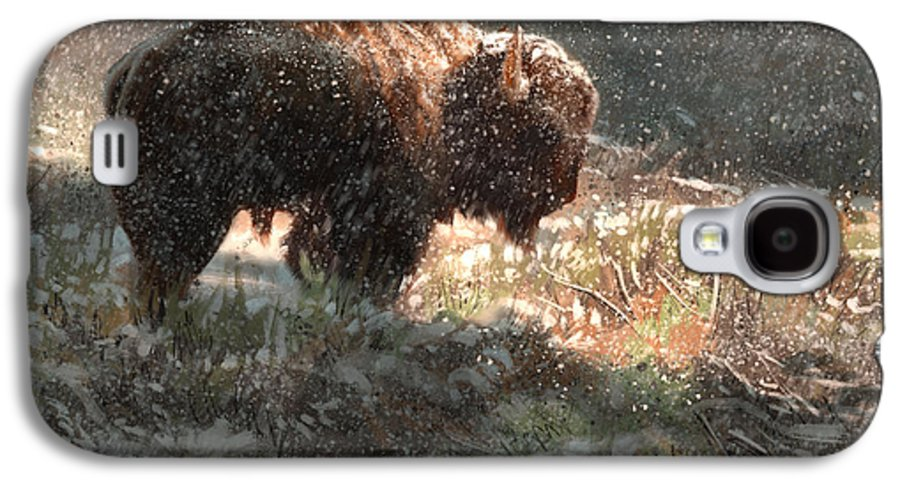 Bison Galaxy S4 Case featuring the digital art Bison In The Snow by Aaron Blaise