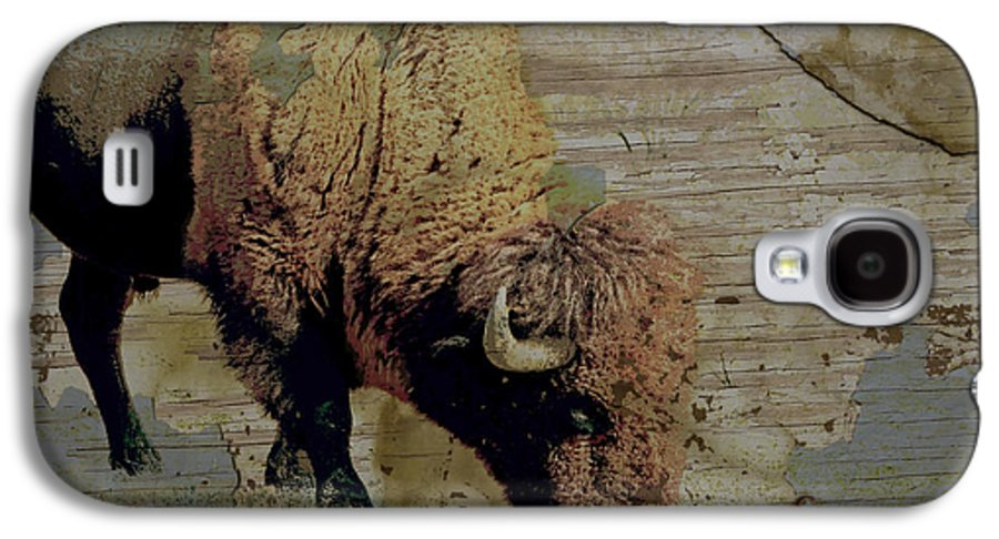 Bison Galaxy S4 Case featuring the photograph Bison Vintage Style -photo- Art by Ann Powell