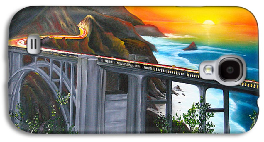Beautiful California Sunset! Galaxy S4 Case featuring the painting Bixby Coastal Bridge Of California At Sunset by Portland Art Creations