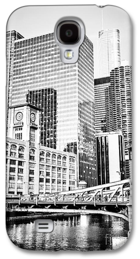 America Galaxy S4 Case featuring the photograph Black And White Picture Of Chicago At Lasalle Bridge by Paul Velgos