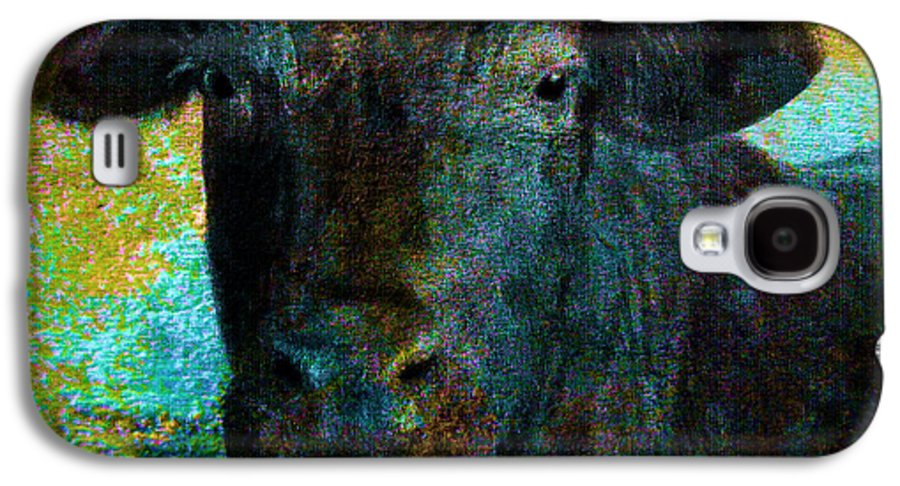 Cow Galaxy S4 Case featuring the mixed media Black Angus by Ann Powell