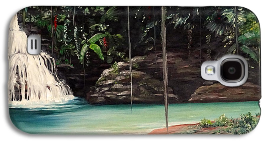 Tropical Waterfall Galaxy S4 Case featuring the painting Blue Basin by Karin Dawn Kelshall- Best
