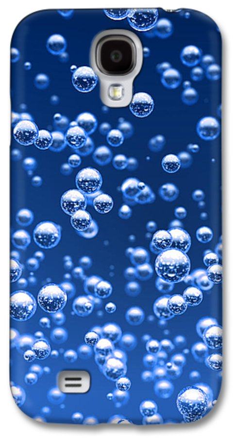 Bubble Galaxy S4 Case featuring the digital art Blue Bubbles by Bruno Haver