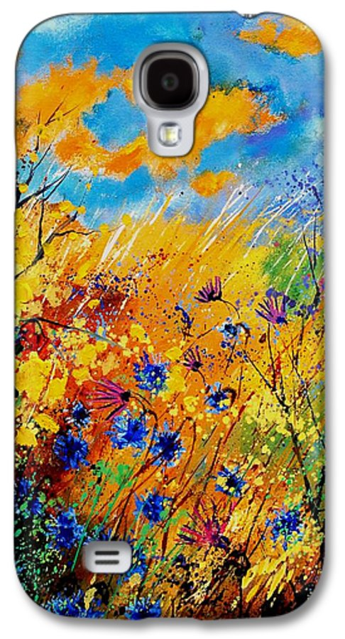 Poppies Galaxy S4 Case featuring the painting Blue Cornflowers 450408 by Pol Ledent