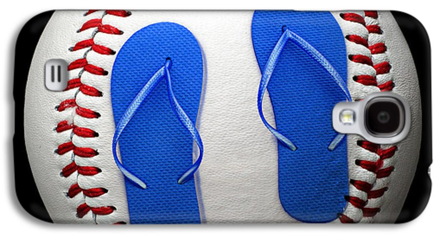 Andee Design Baseball Galaxy S4 Case featuring the photograph Blue Flip Flops Baseball Square by Andee Design