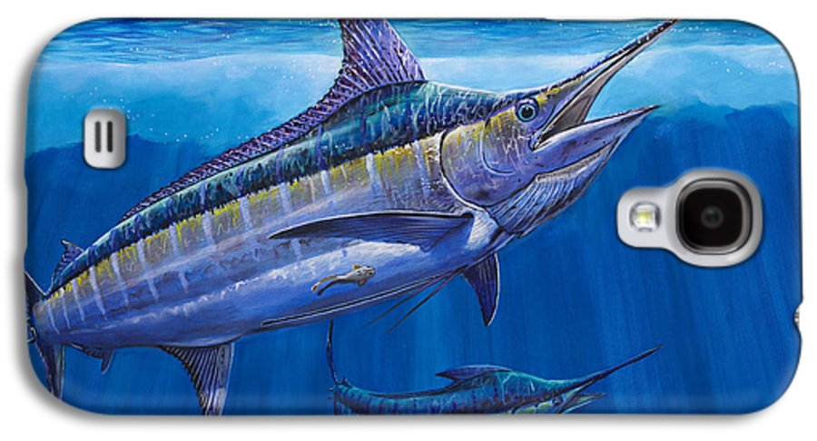 Blue Marlin Galaxy S4 Case featuring the painting Blue Marlin Bite Off001 by Carey Chen