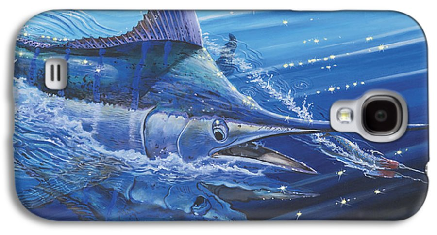 Blue Marlin Galaxy S4 Case featuring the painting Blue Marlin Strike Off0053 by Carey Chen
