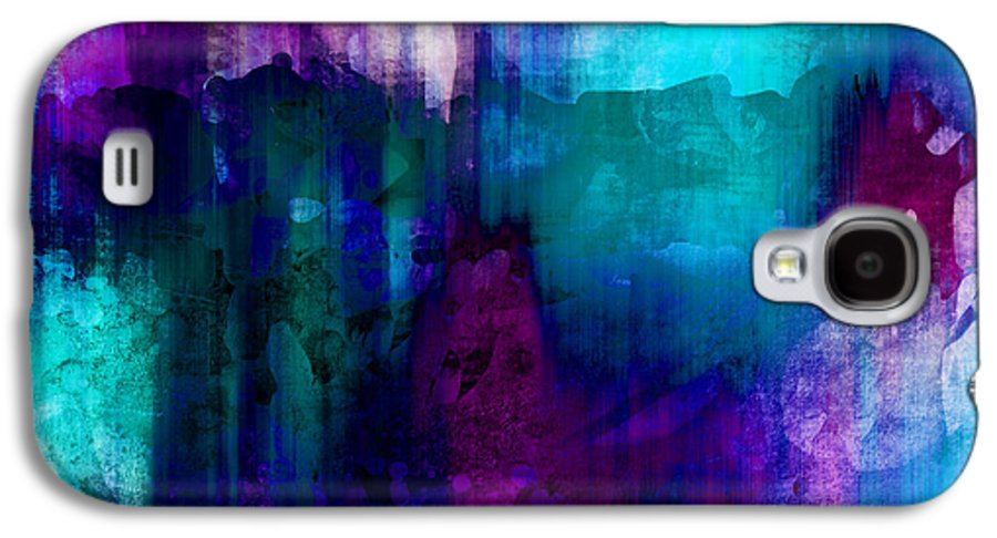 Abstract Galaxy S4 Case featuring the painting Blue Rain Abstract Art  by Ann Powell