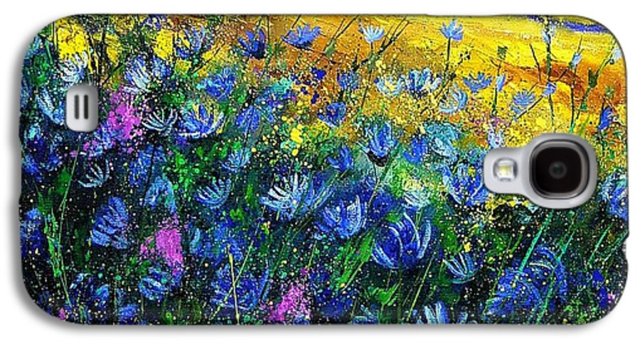 Flowers Galaxy S4 Case featuring the painting Blue Wild Chicorees by Pol Ledent