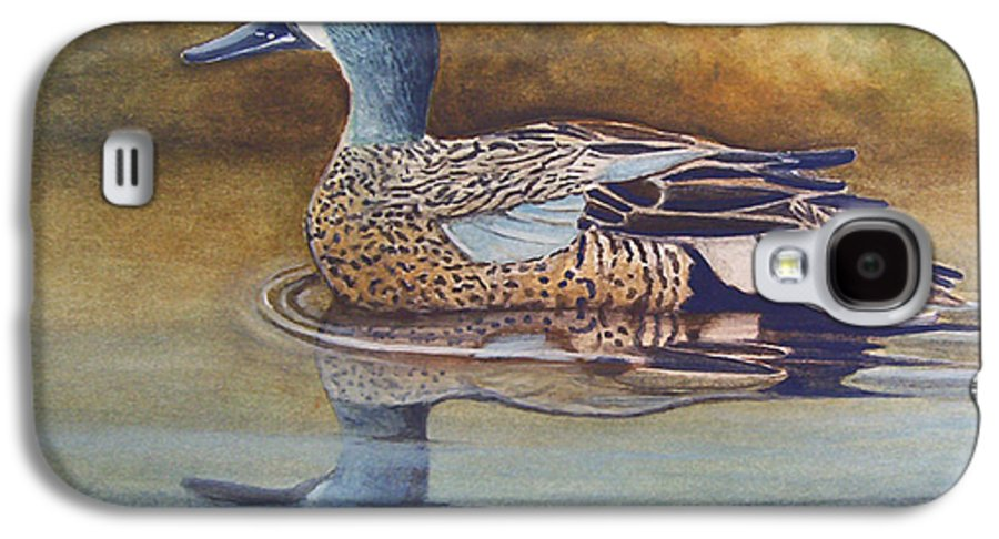 Rick Huotari Galaxy S4 Case featuring the painting Blue Winged Teal by Rick Huotari
