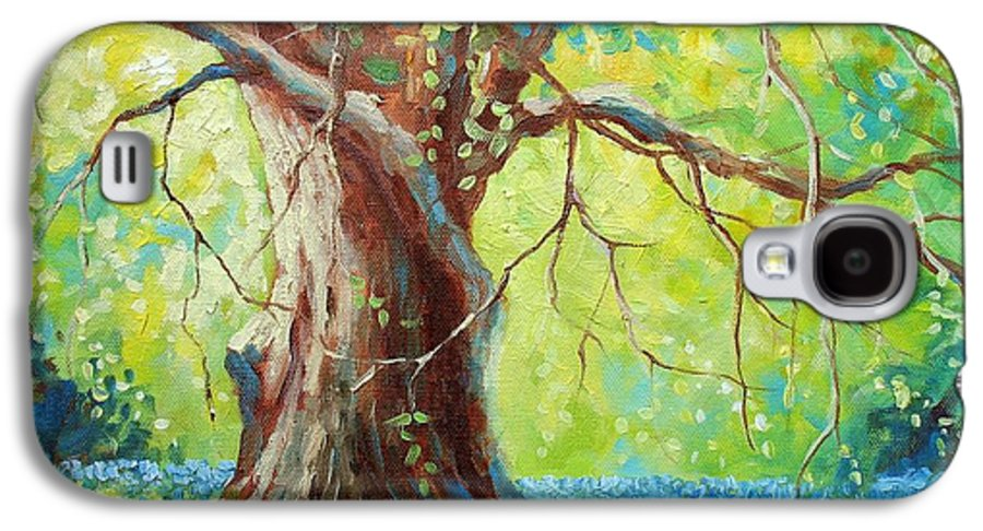 Bluebonnets Galaxy S4 Case featuring the painting Bluebonnets Under The Oak by David G Paul