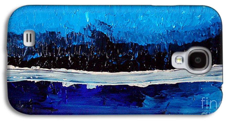 Blue Galaxy S4 Case featuring the painting Blues by Holly Picano
