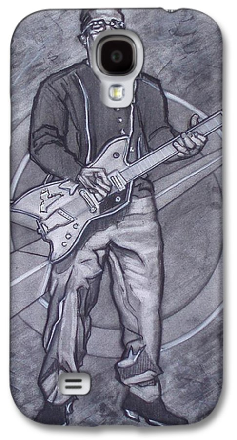 Texas;charcoal;king Of Rock;rock And Roll;music;1950s;blues;musician;funk;electric Guitar;marble;soul Galaxy S4 Case featuring the drawing Bo Diddley - Have Guitar Will Travel by Sean Connolly