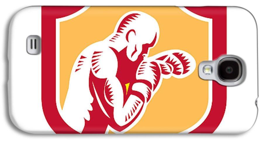 Boxer Galaxy S4 Case featuring the digital art Boxer Boxing Jabbing Punch Side Shield Retro by Aloysius Patrimonio