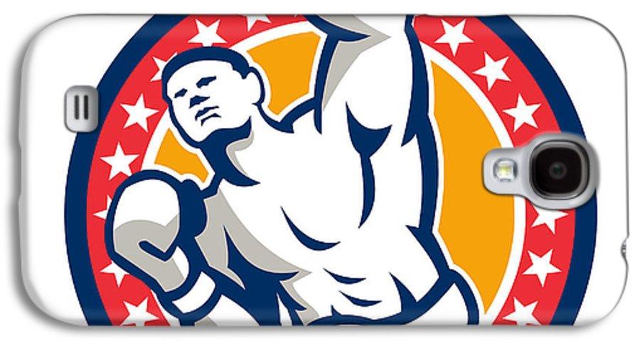 Boxer Galaxy S4 Case featuring the digital art Boxer Boxing Punching Jabbing Retro by Aloysius Patrimonio