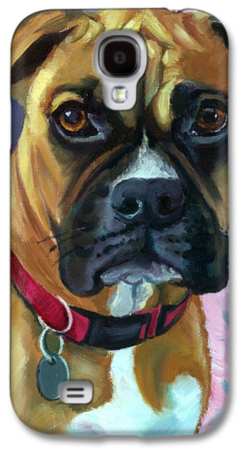 Boxer Dog Galaxy S4 Case featuring the painting Boxer Dog Portrait by Lyn Cook