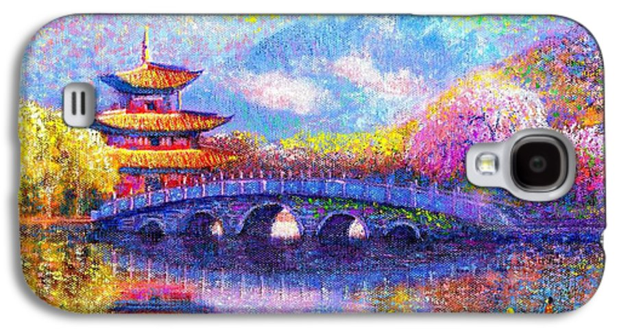Bridge Galaxy S4 Case featuring the painting Bridge Of Dreams by Jane Small