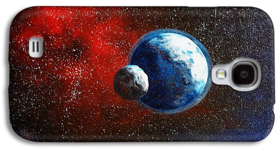 Astro Galaxy S4 Case featuring the painting Broken Moon by Murphy Elliott