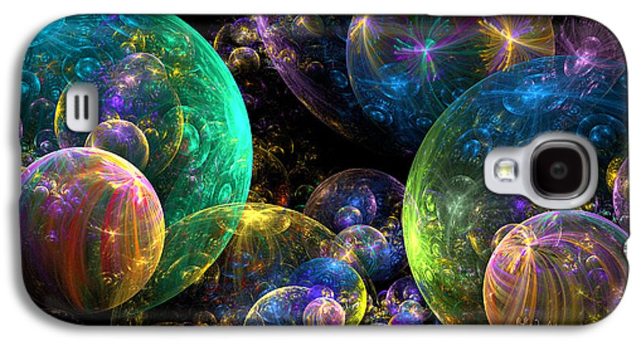 Abstract Galaxy S4 Case featuring the digital art Bubbles Upon Bubbles by Peggi Wolfe