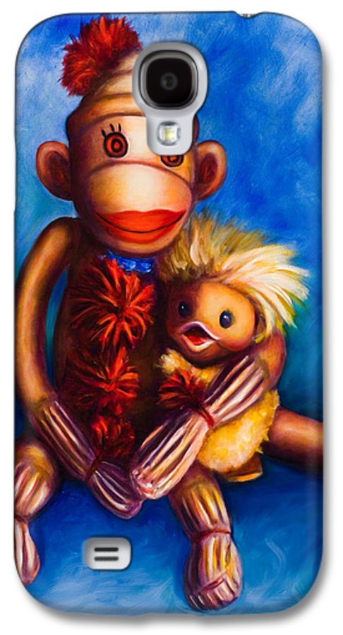 Sock Monkeys Brown Galaxy S4 Case featuring the painting Buddies by Shannon Grissom