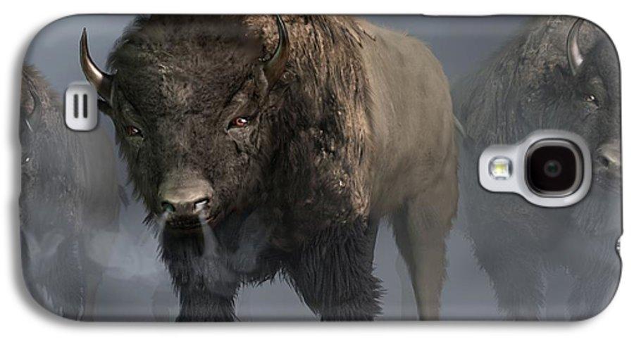 Bison Galaxy S4 Case featuring the digital art Buffalo Vanguard by Daniel Eskridge