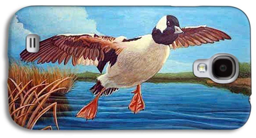 Rick Huotari Galaxy S4 Case featuring the painting Buffelhead Duck by Rick Huotari