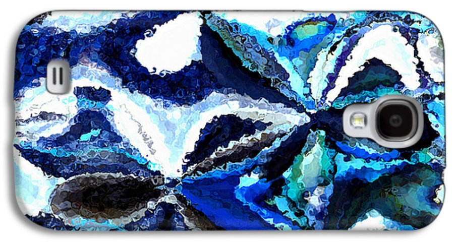 Abstract Galaxy S4 Case featuring the photograph Bursts Of Blue And White - Abstract Art by Carol Groenen