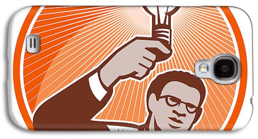 Businessman Galaxy S4 Case featuring the digital art Businessman Holding Lightbulb Woodcut by Aloysius Patrimonio