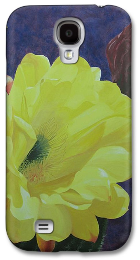 Argentine Cactus Bloom Galaxy S4 Case featuring the painting Cactus Morning by Janis Mock-Jones