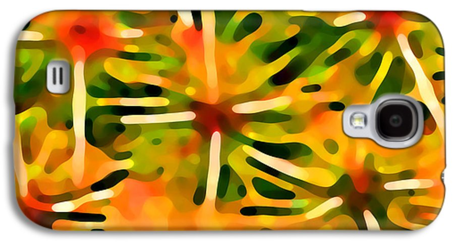 Abstract Galaxy S4 Case featuring the painting Cactus Pattern 3 Yellow by Amy Vangsgard