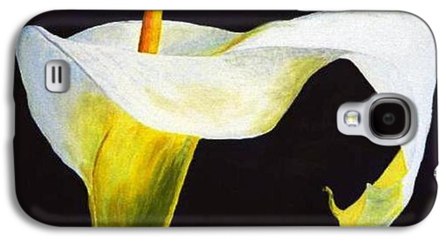 Close-up Galaxy S4 Case featuring the painting Calla Lily by Bruce Combs - REACH BEYOND